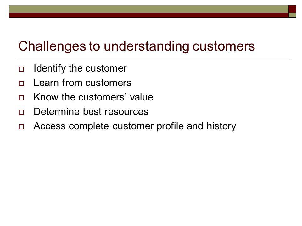 Challenges to understanding customers  Identify the customer  Learn from customers  Know the customers' value  Determine best resources  Access c