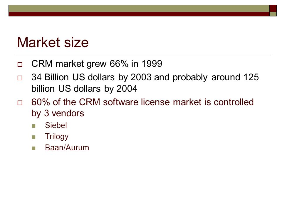 Market size  CRM market grew 66% in 1999  34 Billion US dollars by 2003 and probably around 125 billion US dollars by 2004  60% of the CRM software