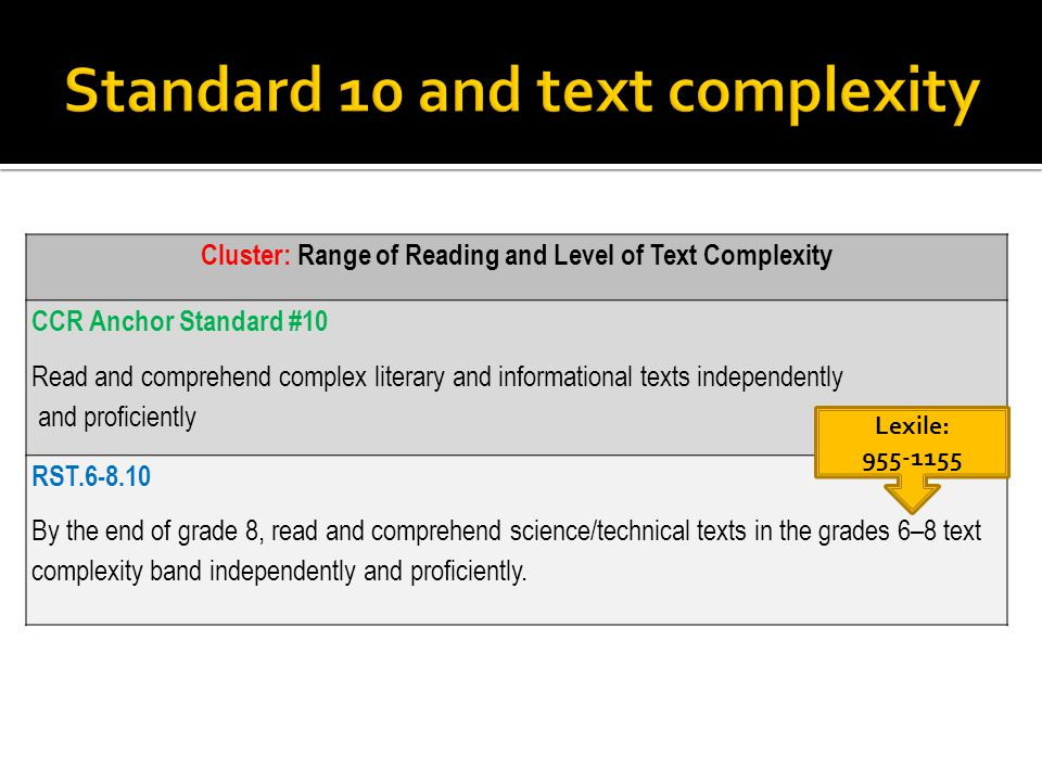 Cluster: Range of Reading and Level of Text Complexity CCR Anchor Standard #10 Read and comprehend complex literary and informational texts independently and proficiently RST.6-8.10 By the end of grade 8, read and comprehend science/technical texts in the grades 6–8 text complexity band independently and proficiently.