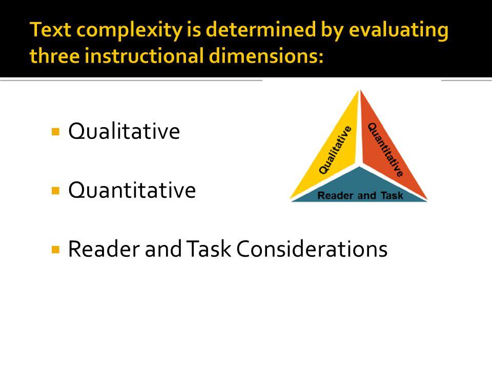  Qualitative  Quantitative  Reader and Task Considerations