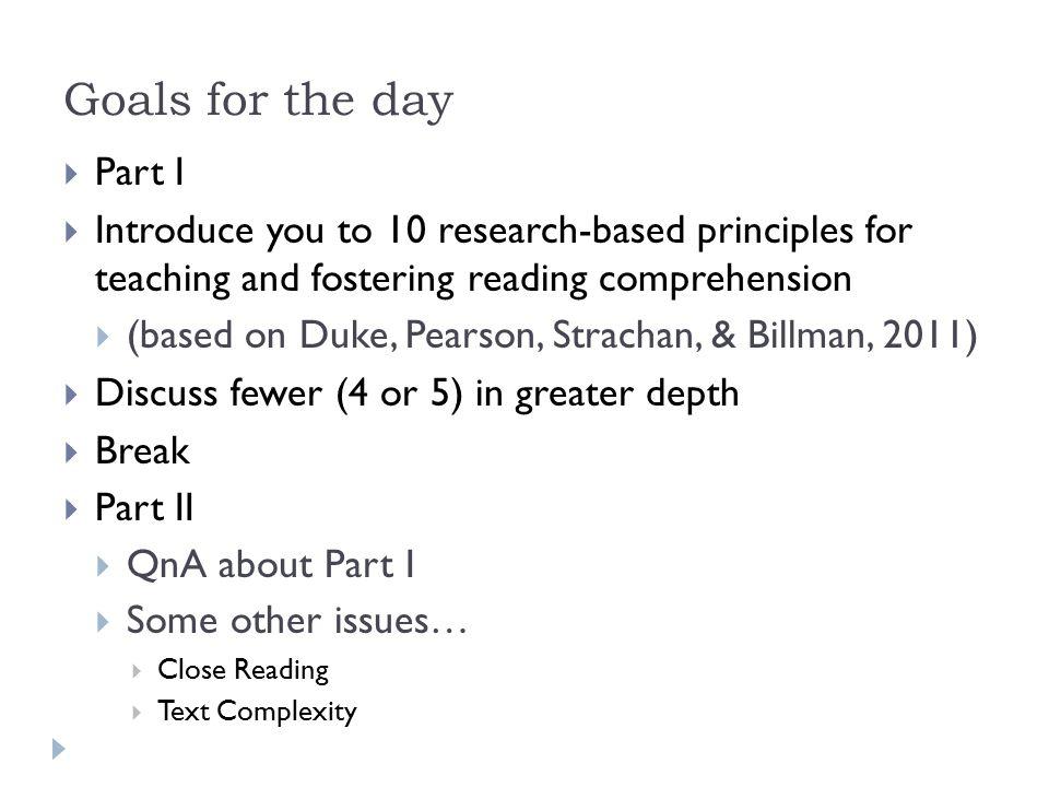 Duke et al, 2011  1.Build disciplinary and world knowledge.