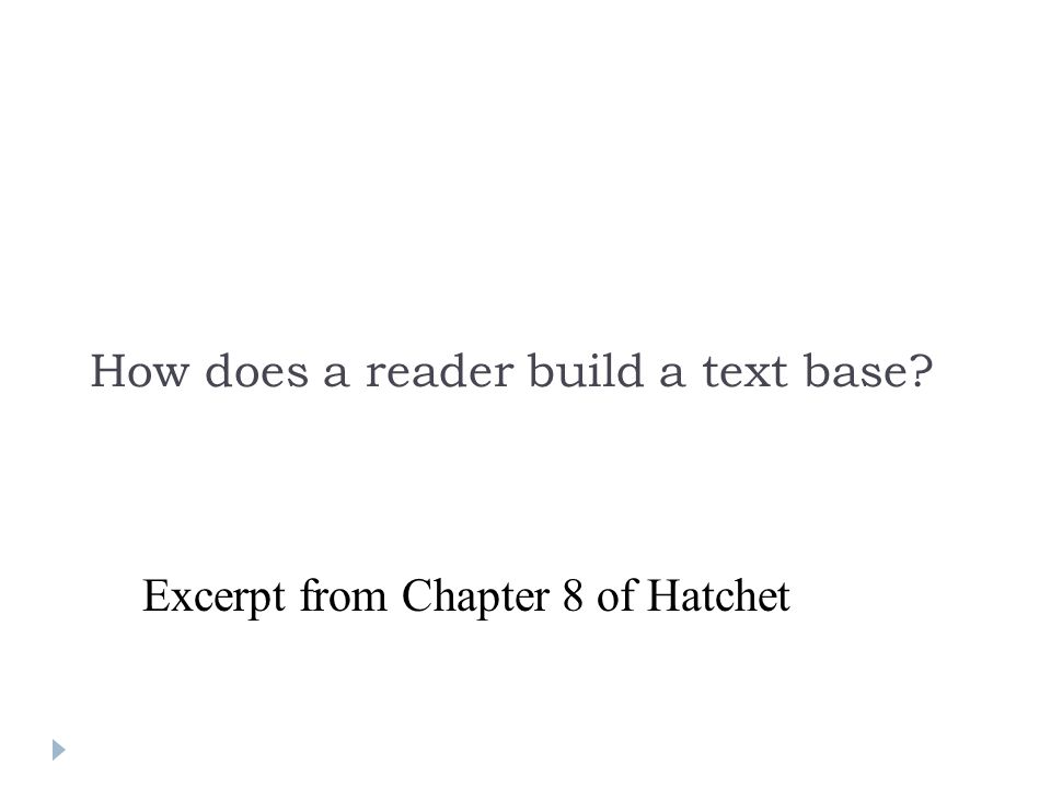 How does a reader build a text base Excerpt from Chapter 8 of Hatchet