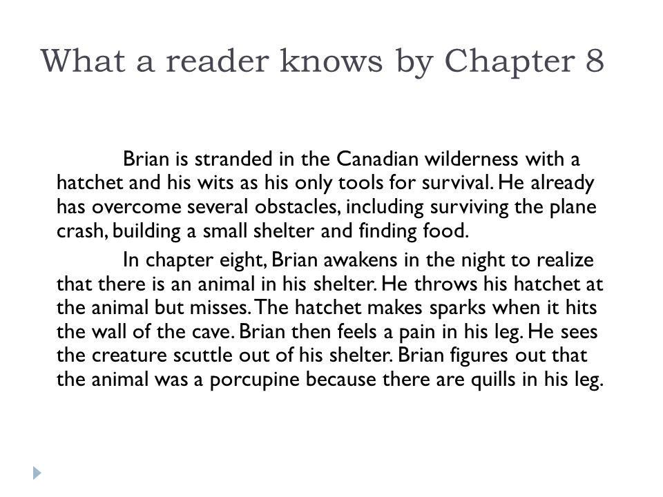 What a reader knows by Chapter 8 Brian is stranded in the Canadian wilderness with a hatchet and his wits as his only tools for survival.
