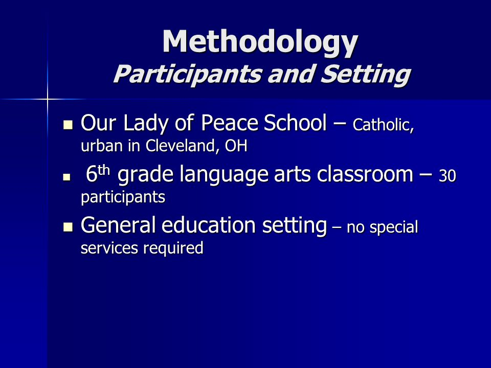 Methodology Participants and Setting Our Lady of Peace School – Catholic, urban in Cleveland, OH Our Lady of Peace School – Catholic, urban in Cleveland, OH 6 th grade language arts classroom – 30 participants 6 th grade language arts classroom – 30 participants General education setting – no special services required General education setting – no special services required