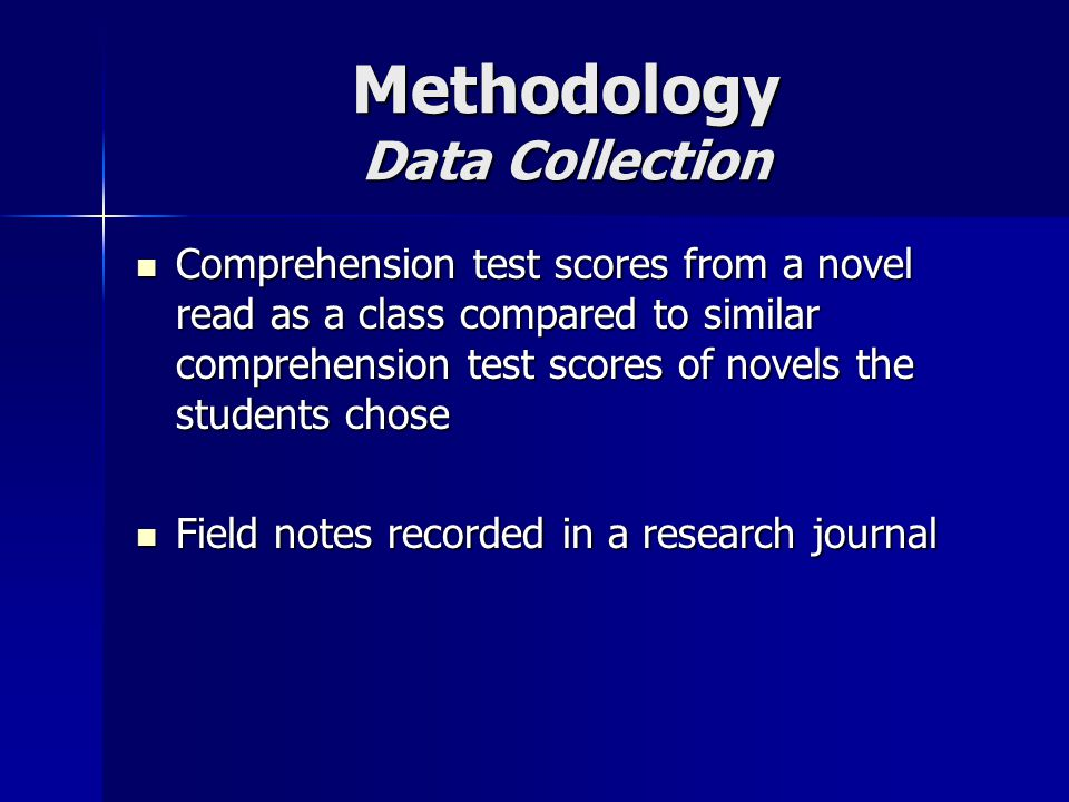 Methodology Data Analysis Reviewed daily notes in research journal Reviewed daily notes in research journal Chart comparison of two comprehension tests taken by the participants Chart comparison of two comprehension tests taken by the participants