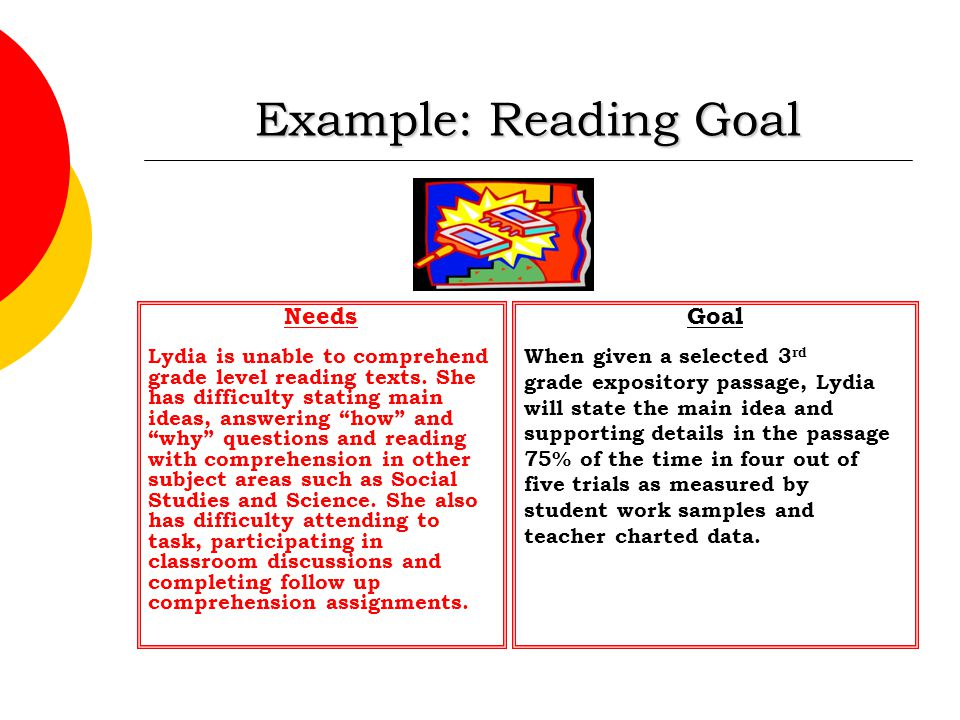"Example: Reading Goal Needs Lydia is unable to comprehend grade level reading texts. She has difficulty stating main ideas, answering ""how"" and ""why"""