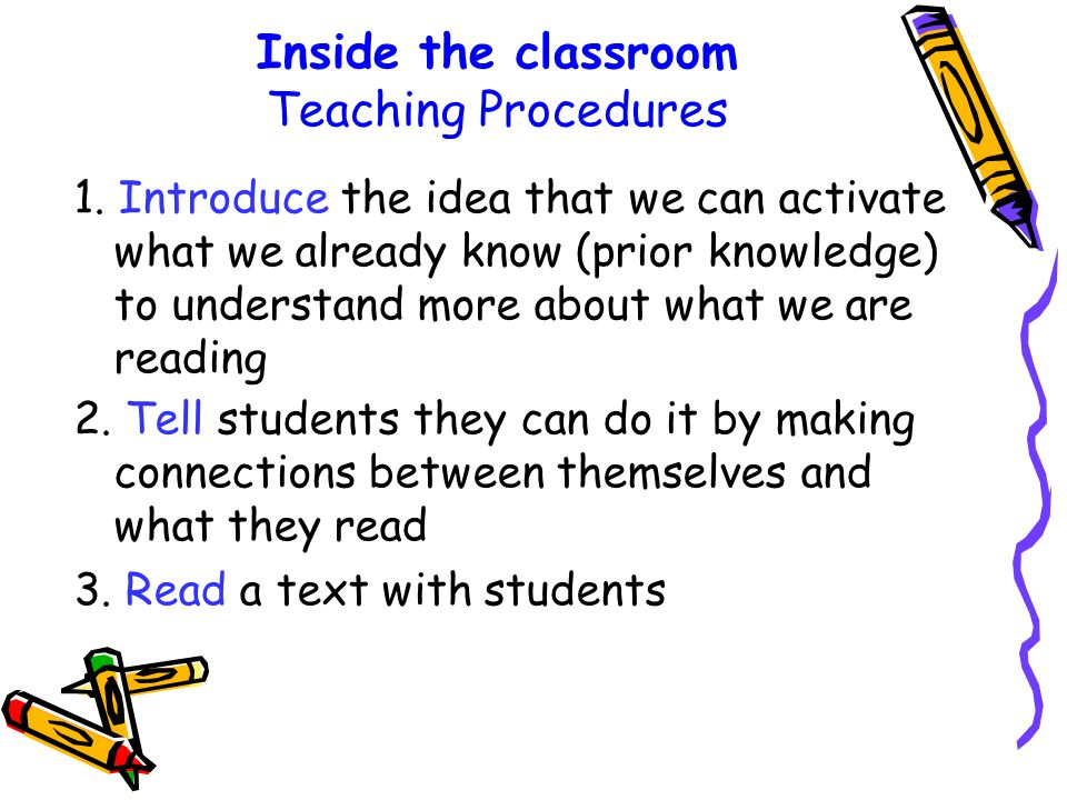 Inside the classroom Teaching Procedures 1.