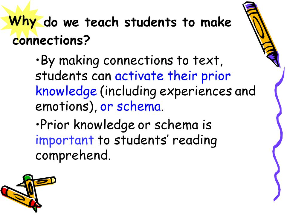do we teach students to make By making connections to text, students can activate their prior knowledge (including experiences and emotions), or schema.