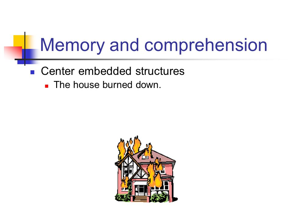 Center embedded structures The house burned down. Memory and comprehension