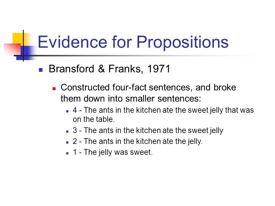 Evidence for Propositions Bransford & Franks, 1971 Constructed four-fact sentences, and broke them down into smaller sentences: 4 - The ants in the kitchen ate the sweet jelly that was on the table.