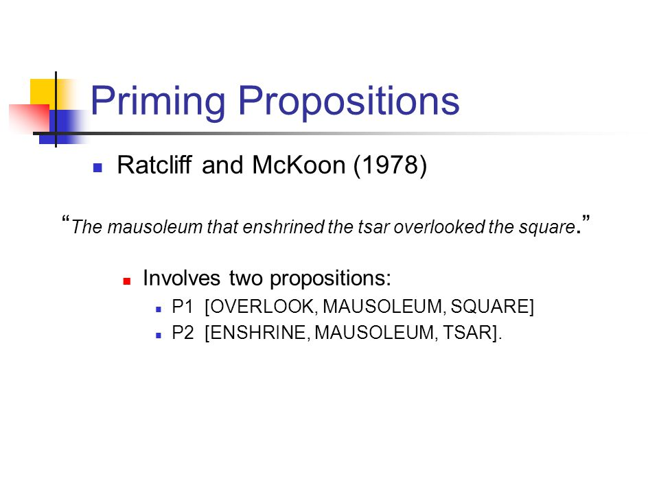 Priming Propositions Ratcliff and McKoon (1978) Involves two propositions: P1 [OVERLOOK, MAUSOLEUM, SQUARE] P2 [ENSHRINE, MAUSOLEUM, TSAR].