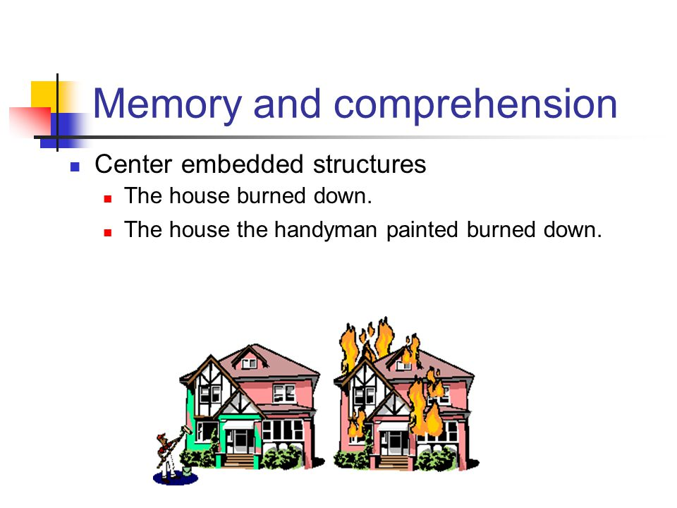 Memory for sentences Conclusions: Meaning gets preserved, surface structure (and syntax) forgotten