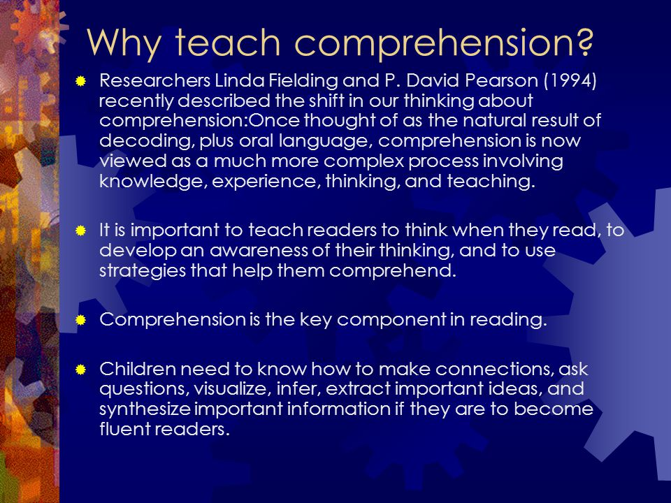 Reading Strategies Prediction *actively making predictions based on titles, pictures, and text Asking Questions *actively asking questions of themselves, authors, or text before, during, and after reading *generating possible answers to the questions *keeps readers engaged *helps readers clarify understanding and make meaning