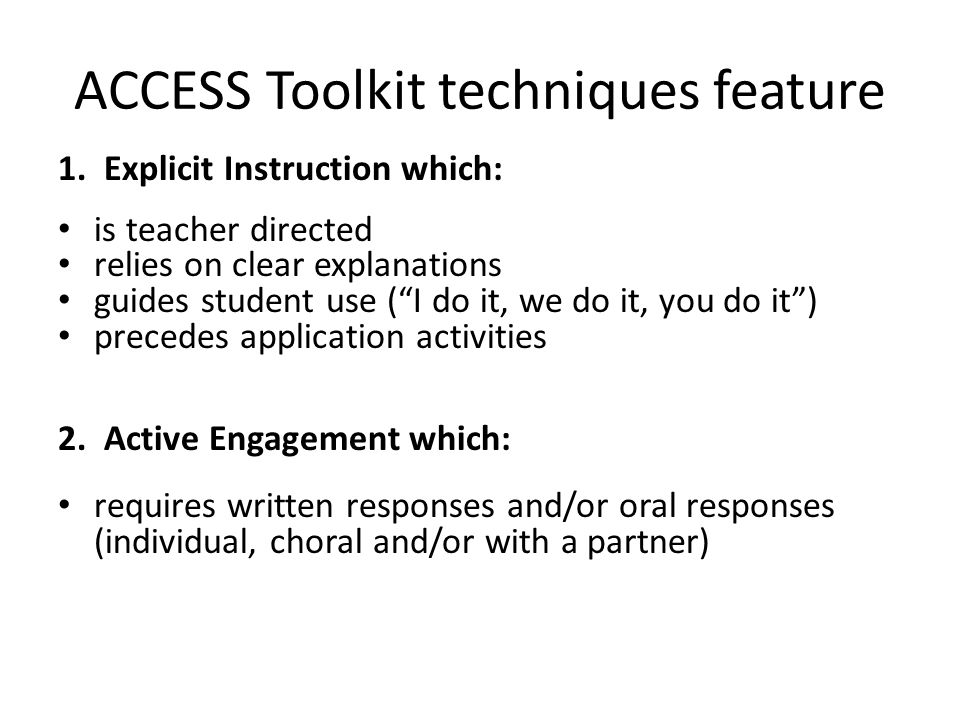 ACCESS Toolkit techniques feature 1.