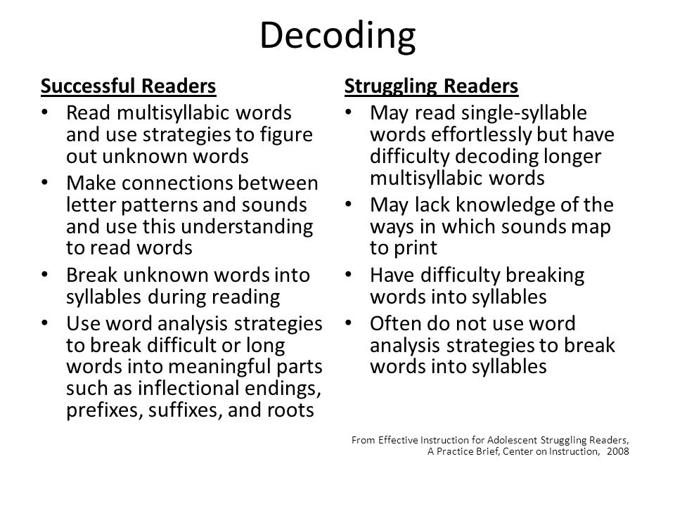 Decoding Successful Readers Read multisyllabic words and use strategies to figure out unknown words Make connections between letter patterns and sounds and use this understanding to read words Break unknown words into syllables during reading Use word analysis strategies to break difficult or long words into meaningful parts such as inflectional endings, prefixes, suffixes, and roots Struggling Readers May read single-syllable words effortlessly but have difficulty decoding longer multisyllabic words May lack knowledge of the ways in which sounds map to print Have difficulty breaking words into syllables Often do not use word analysis strategies to break words into syllables From Effective Instruction for Adolescent Struggling Readers, A Practice Brief, Center on Instruction, 2008