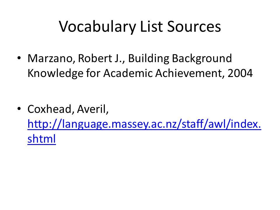 Vocabulary List Sources Marzano, Robert J., Building Background Knowledge for Academic Achievement, 2004 Coxhead, Averil, http://language.massey.ac.nz/staff/awl/index.