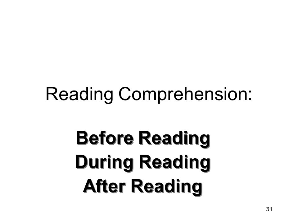 31 Reading Comprehension: Before Reading During Reading After Reading Before Reading During Reading After Reading
