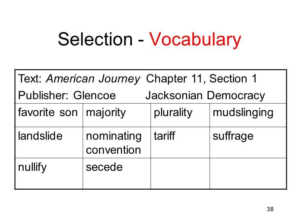 38 Selection - Vocabulary Text: American Journey Chapter 11, Section 1 Publisher: Glencoe Jacksonian Democracy favorite sonmajoritypluralitymudslingin