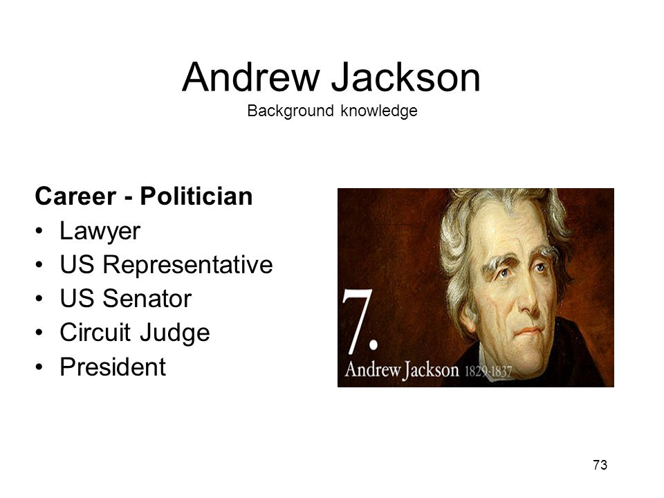 73 Andrew Jackson Background knowledge Career - Politician Lawyer US Representative US Senator Circuit Judge President