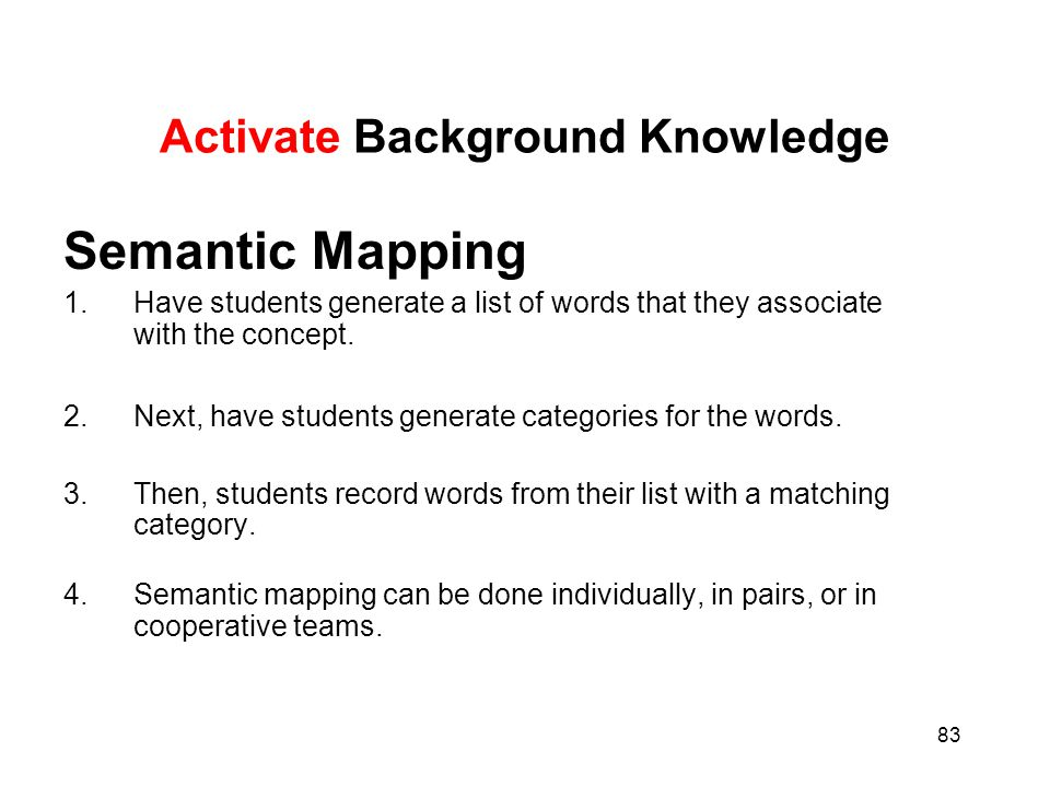 83 Activate Background Knowledge Semantic Mapping 1.Have students generate a list of words that they associate with the concept. 2.Next, have students