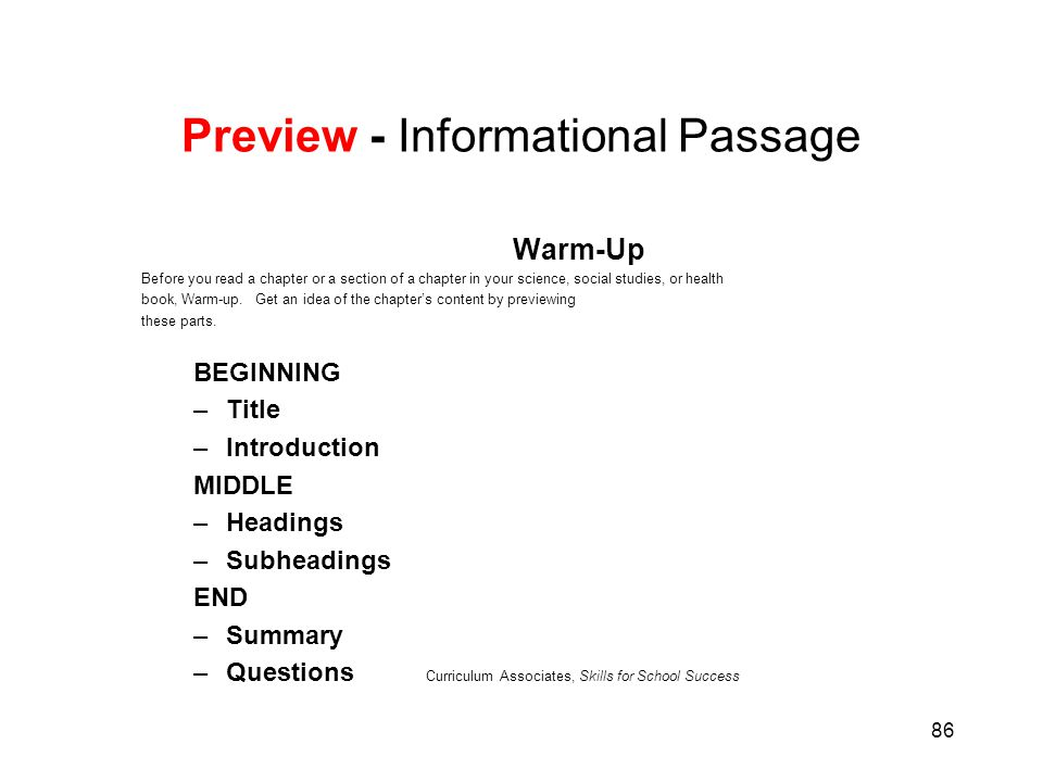 86 Preview - Informational Passage Warm-Up Before you read a chapter or a section of a chapter in your science, social studies, or health book, Warm-u