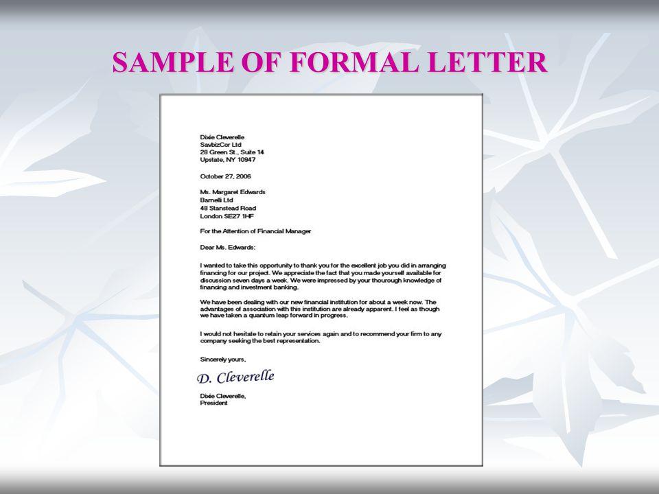 SAMPLE OF FORMAL LETTER
