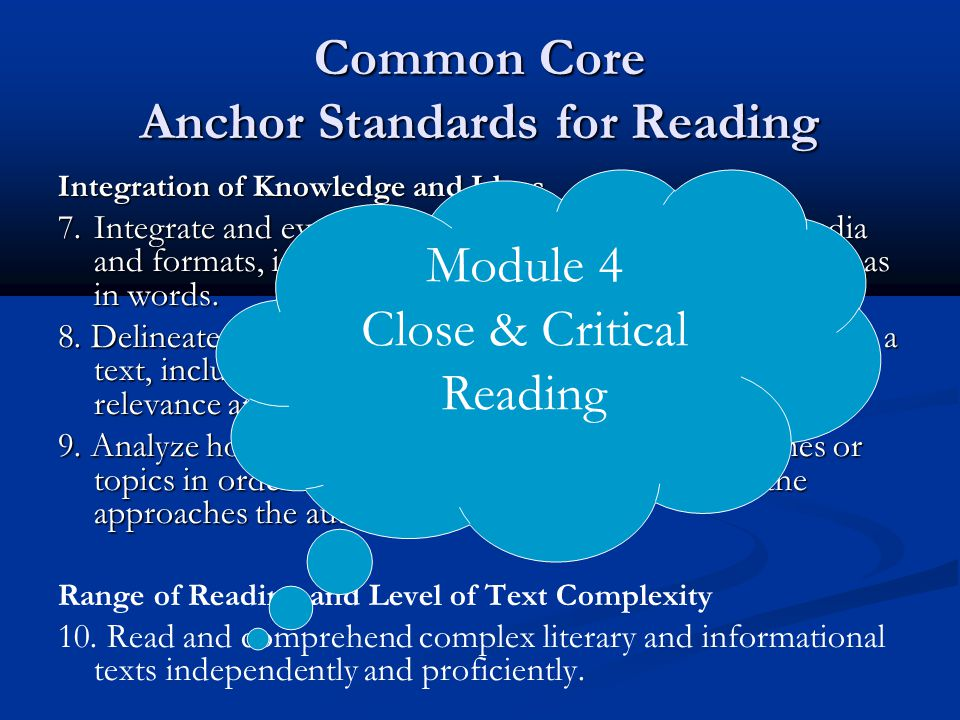 Common Core Anchor Standards for Reading Integration of Knowledge and Ideas 7.Integrate and evaluate content presented in diverse media and formats, i