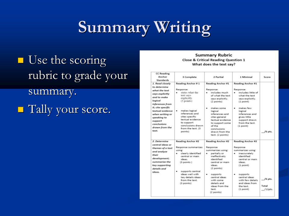 Summary Writing Use the scoring rubric to grade your summary. Use the scoring rubric to grade your summary. Tally your score. Tally your score.