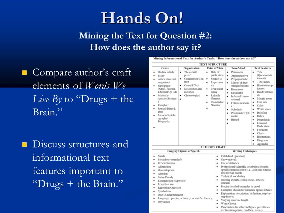 """Hands On! Compare author's craft elements of Words We Live By to """"Drugs + the Brain."""" Discuss structures and informational text features important to"""