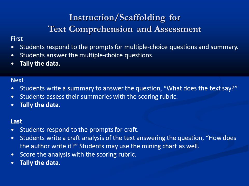 Instruction/Scaffolding for Text Comprehension and Assessment First Students respond to the prompts for multiple-choice questions and summary. Student