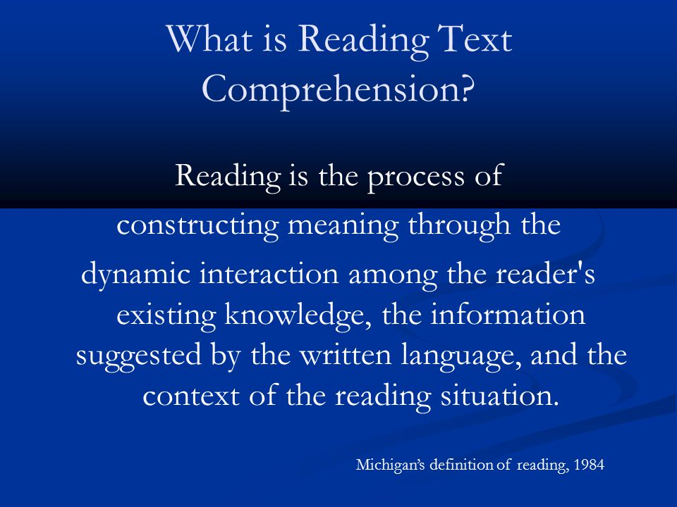 Definition Explanation The reader's background knowledge The text and how it is constructed The purpose for reading