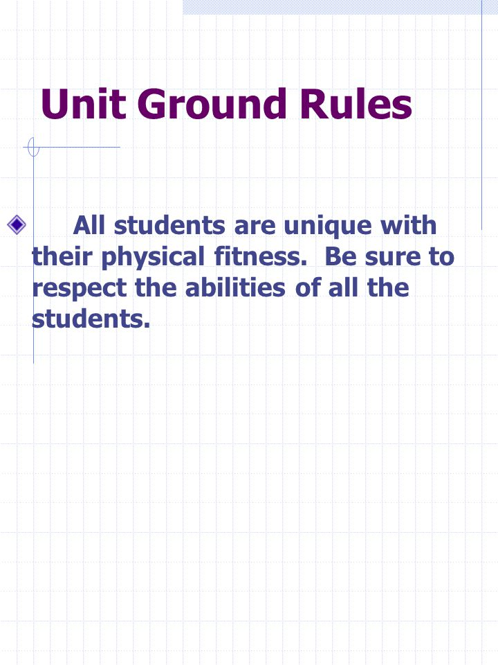 Unit Ground Rules All students are unique with their physical fitness.