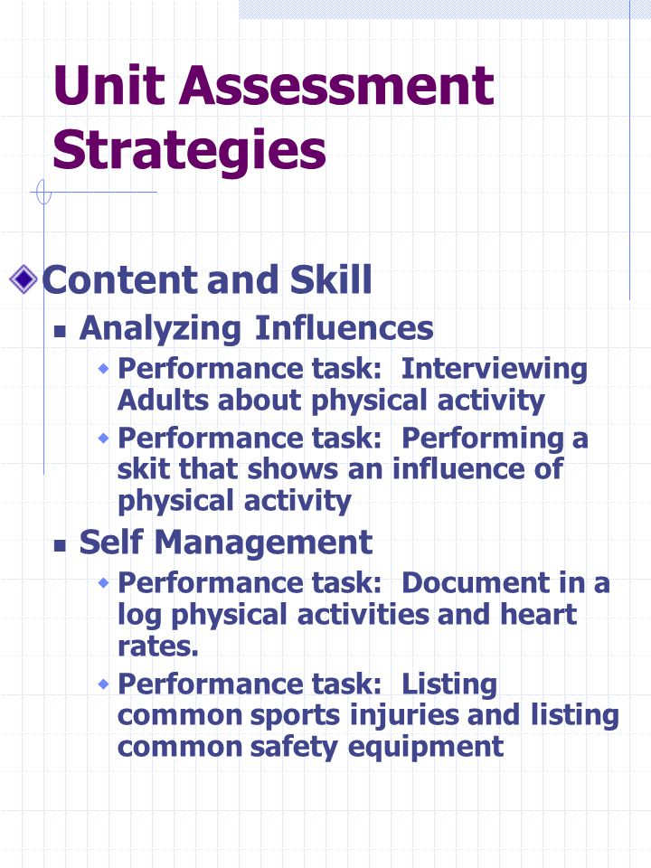 Unit Assessment Strategies Content and Skill Analyzing Influences  Performance task: Interviewing Adults about physical activity  Performance task: Performing a skit that shows an influence of physical activity Self Management  Performance task: Document in a log physical activities and heart rates.