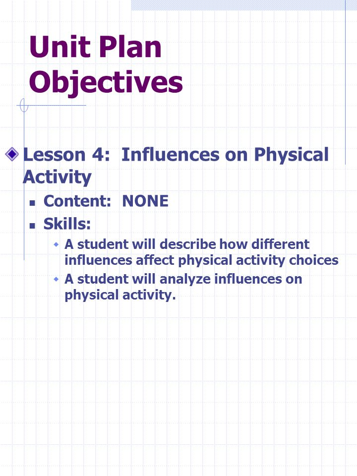 Unit Plan Objectives Lesson 4: Influences on Physical Activity Content: NONE Skills:  A student will describe how different influences affect physical activity choices  A student will analyze influences on physical activity.