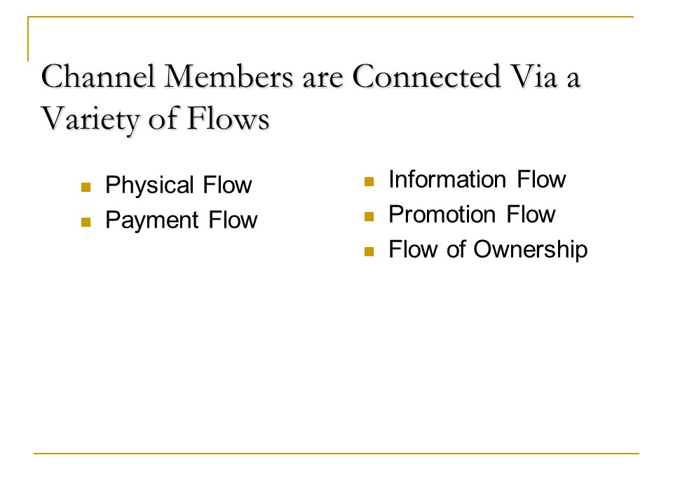 Channel Members are Connected Via a Variety of Flows Physical Flow Payment Flow Information Flow Promotion Flow Flow of Ownership