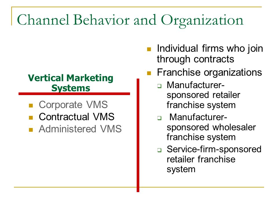 Channel Behavior and Organization Corporate VMS Contractual VMS Administered VMS Individual firms who join through contracts Franchise organizations  Manufacturer- sponsored retailer franchise system  Manufacturer- sponsored wholesaler franchise system  Service-firm-sponsored retailer franchise system Vertical Marketing Systems