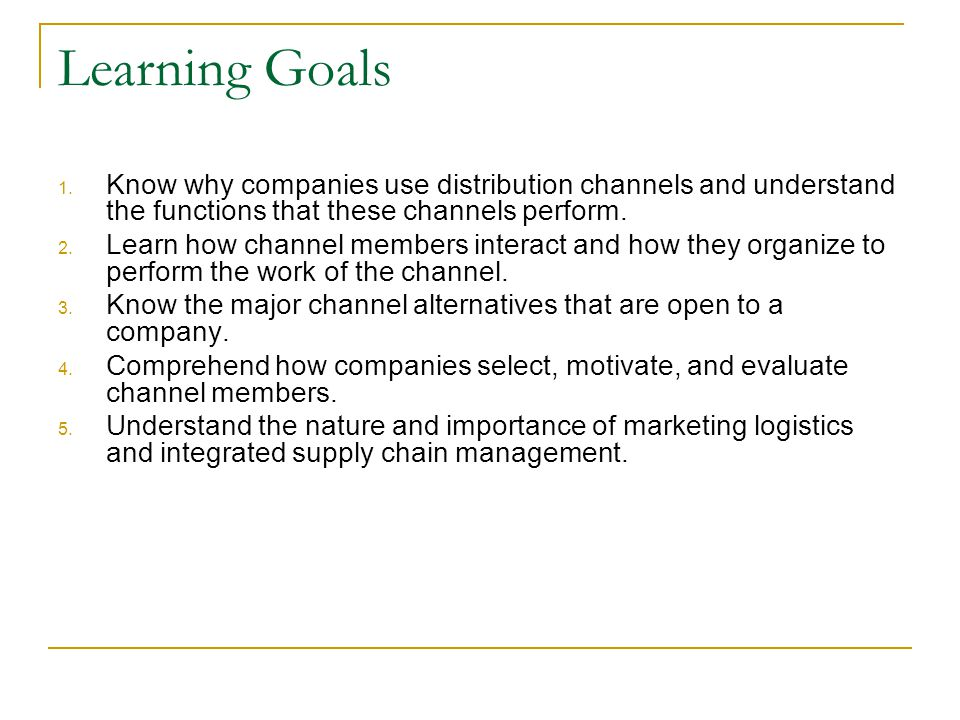 Learning Goals 1.