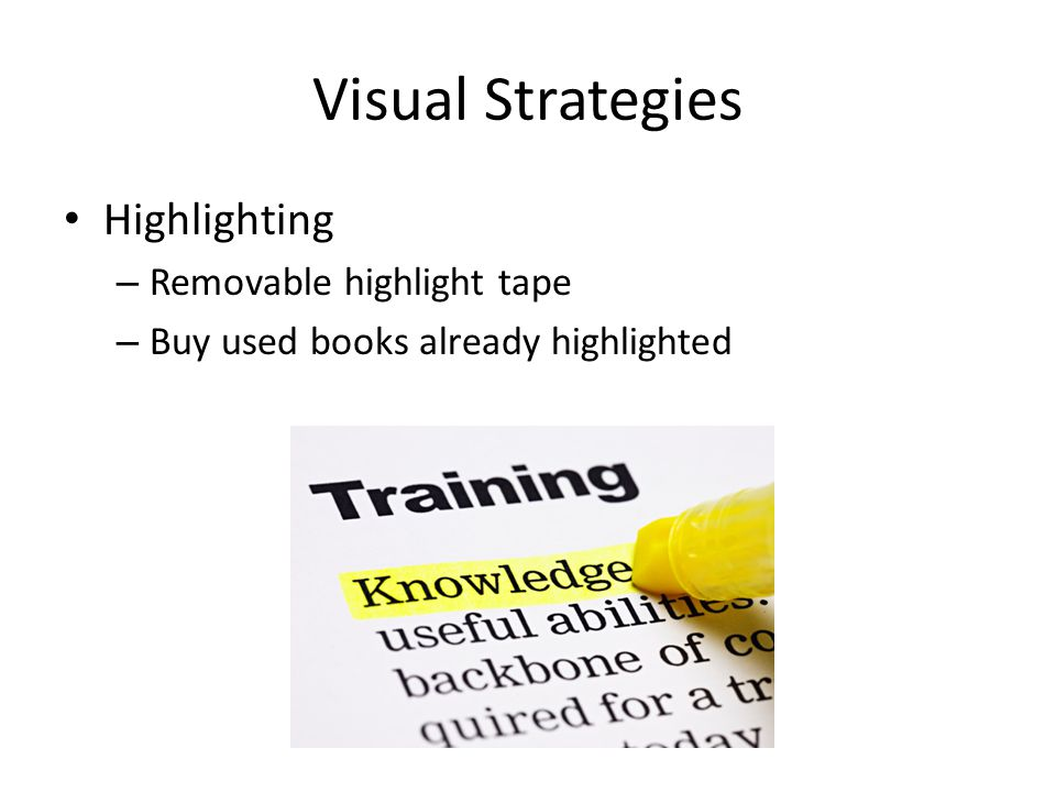 Visual Strategies Highlighting – Removable highlight tape – Buy used books already highlighted