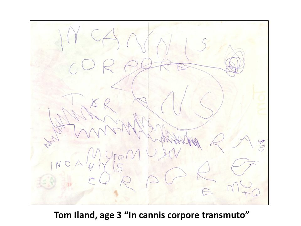 "Tom Iland, age 3 ""In cannis corpore transmuto"""