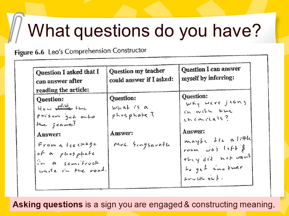 What questions do you have Asking questions is a sign you are engaged & constructing meaning.