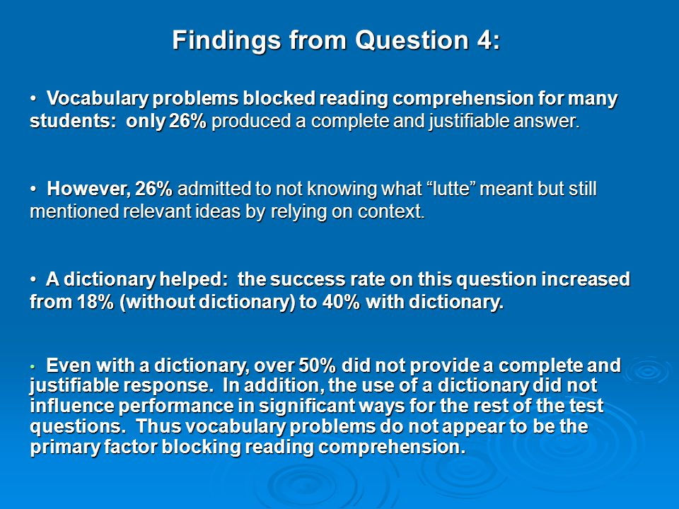 Findings from Question 4: Vocabulary problems blocked reading comprehension for many students: only 26% produced a complete and justifiable answer.