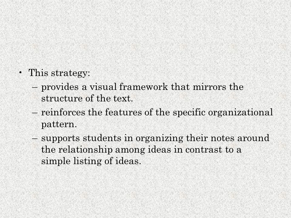 This strategy: –provides a visual framework that mirrors the structure of the text. –reinforces the features of the specific organizational pattern. –