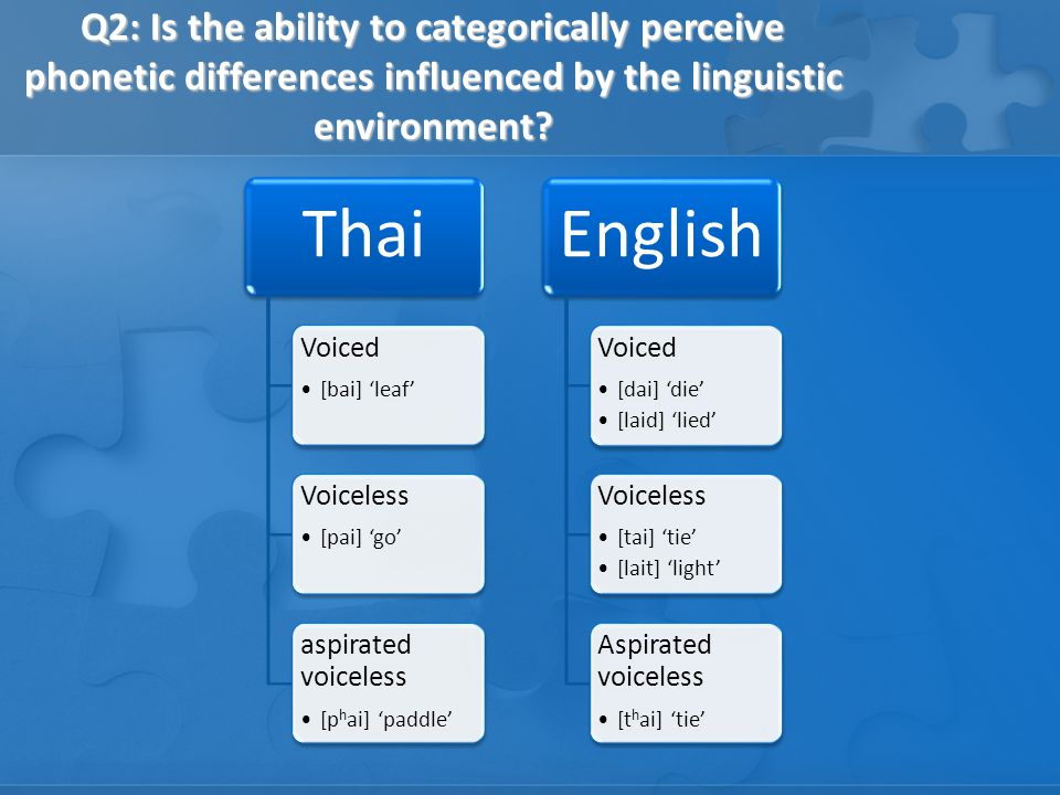 Q2: Is the ability to categorically perceive phonetic differences influenced by the linguistic environment.