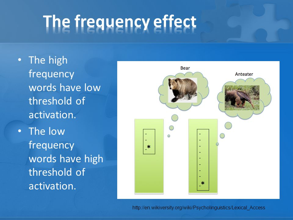 The high frequency words have low threshold of activation.