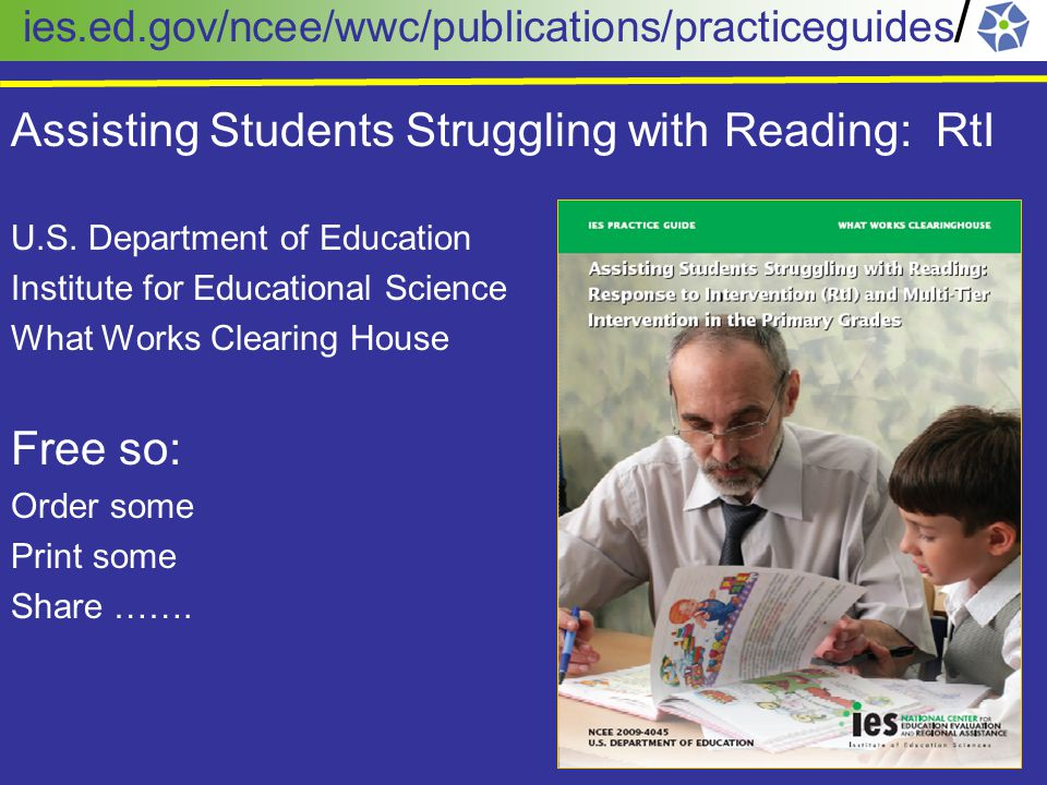 Assisting Students Struggling with Reading: RtI U.S.