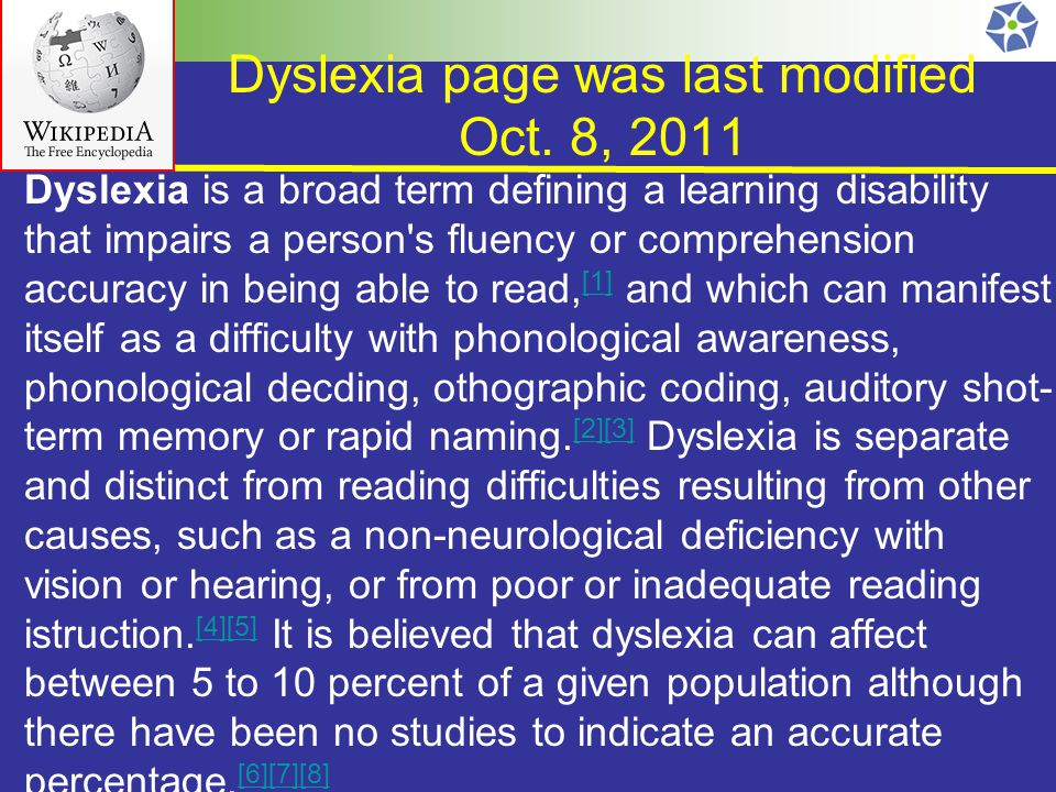 Dyslexia page was last modified Oct.