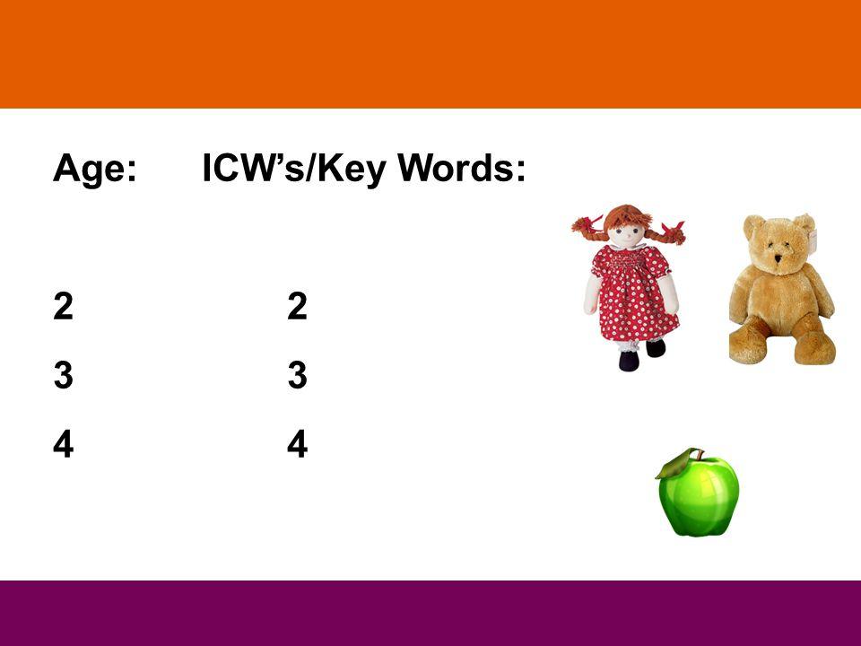Age: ICW's/Key Words: 2 3 4