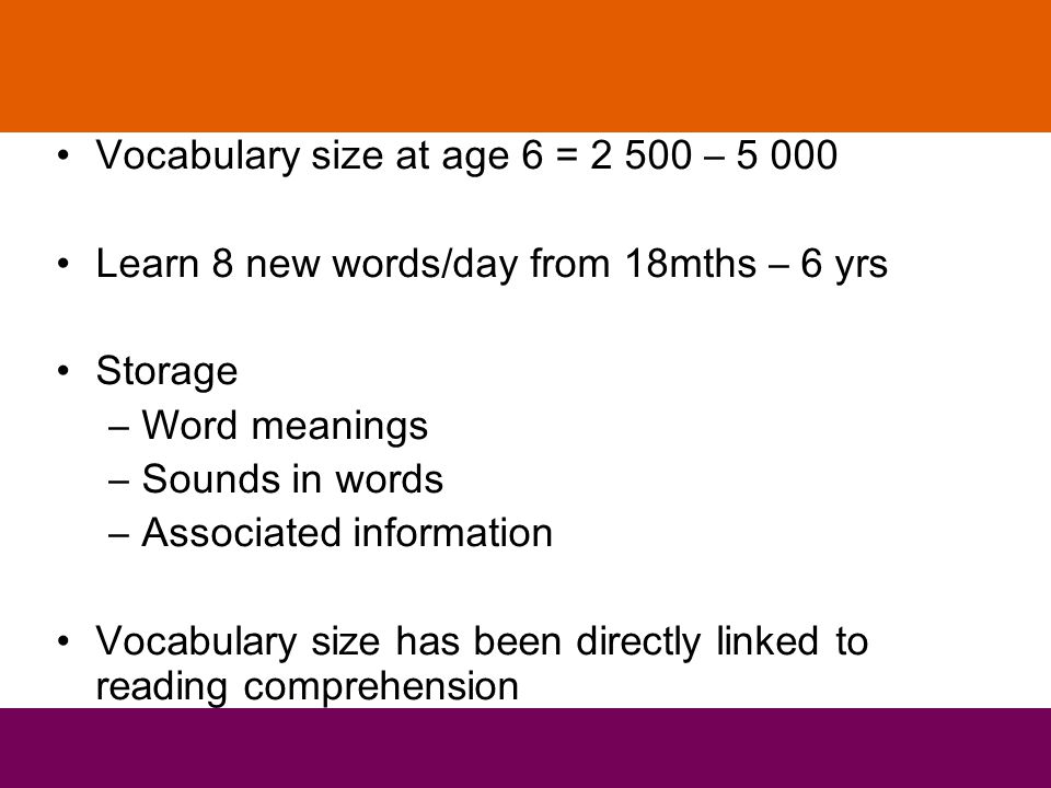 Vocabulary size at age 6 = 2 500 – 5 000 Learn 8 new words/day from 18mths – 6 yrs Storage –Word meanings –Sounds in words –Associated information Vocabulary size has been directly linked to reading comprehension