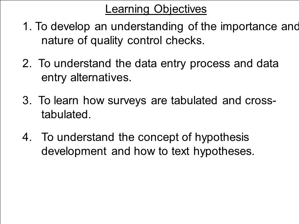 Learning Objectives Measures of Dispersion Standard deviation (continued) S  n I = 1 n - 1 (X i - X) 2 = √ where S = sample standard deviation X i = the value of the ith observation X = the sample mean n = the sample size To comprehend the basic techniques of statistical analysis.