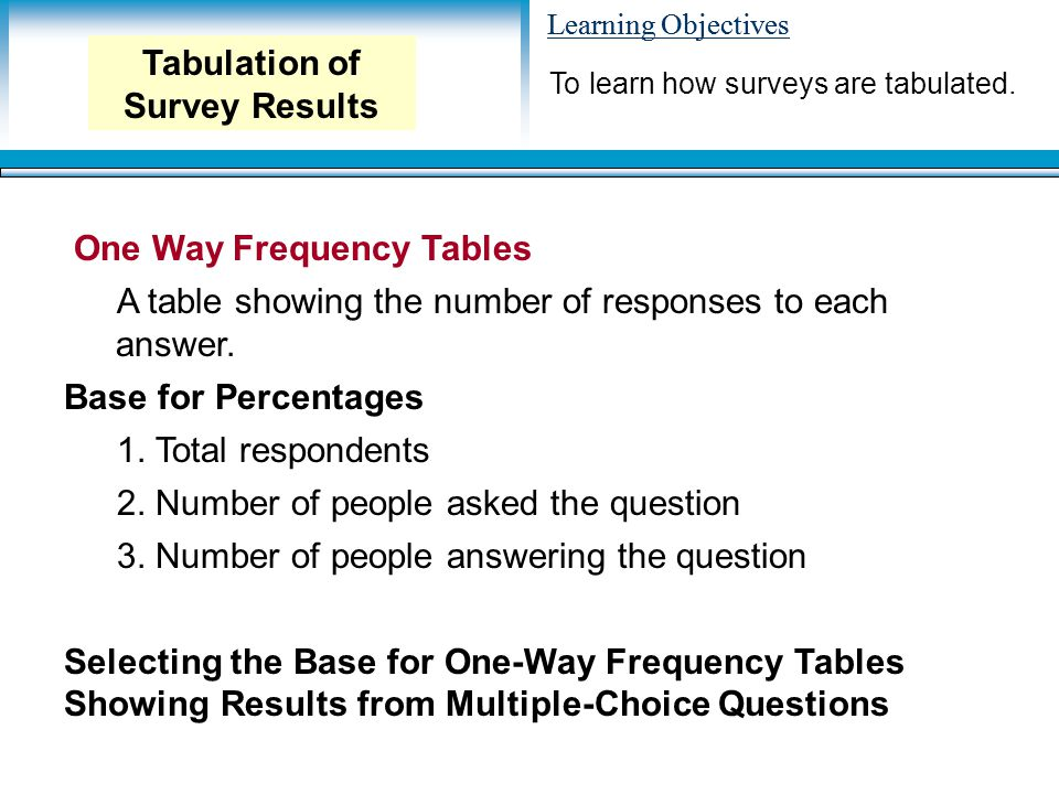 Learning Objectives One Way Frequency Tables A table showing the number of responses to each answer.